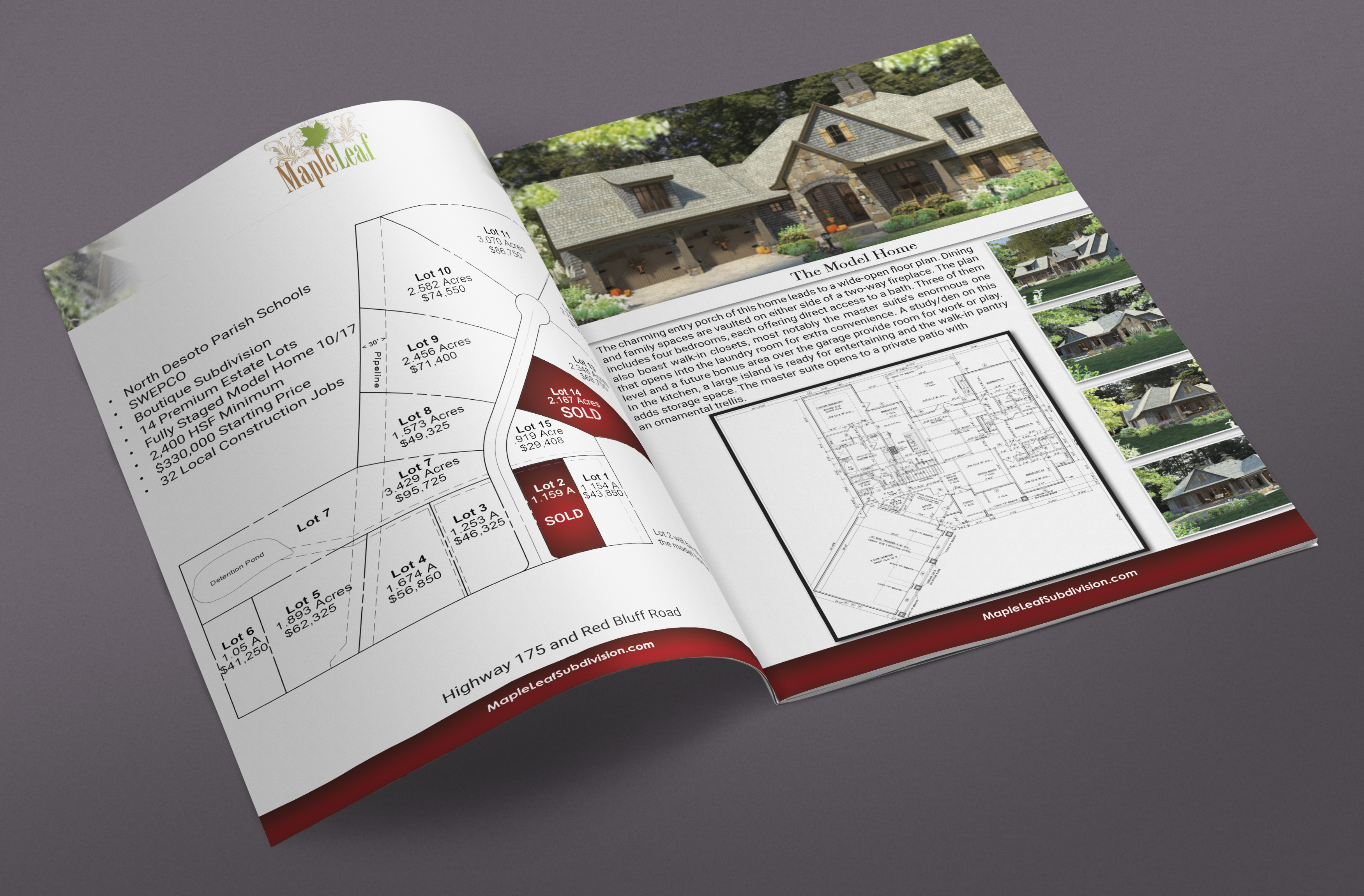 a photograph of the bi fold brochure created for the ground breaking ceremony of the maple leaf subdivision